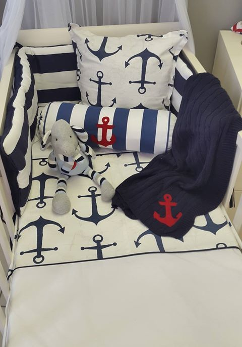 Our combination of #anchors in #navy with a touch of #red is perfect for any #BabyBoy's #NauticalTheme nursery!   #BabyBedding #BabyLinen