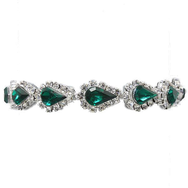 Emerald diamante teardrop tennis bracelet (available in other colours) from WWW.GlitzyGlamour.co.uk