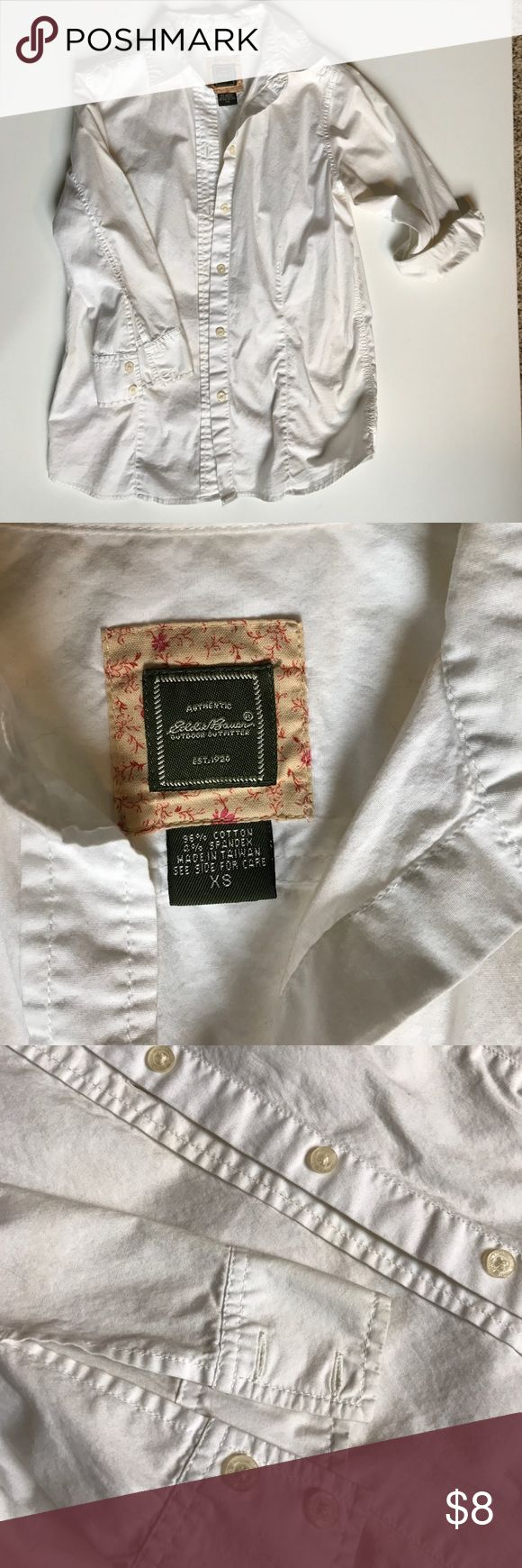 White button up Lightly worn, good structure, could use a bleach wash to brighten white again, leaving to buyer care Eddie Bauer Tops Button Down Shirts