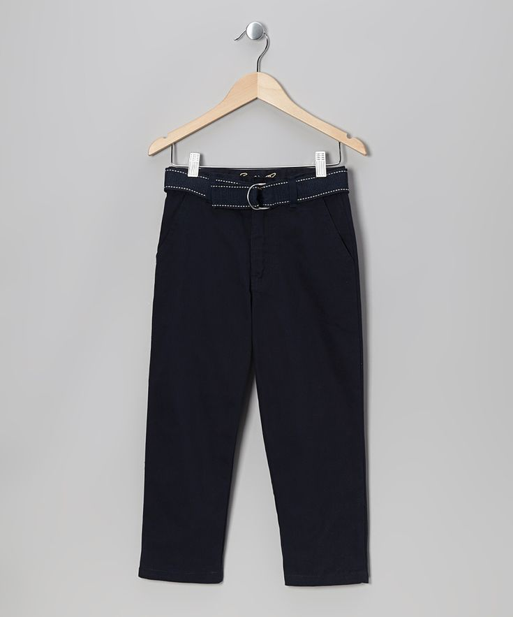 Navy Belted Twill Pants - Boys