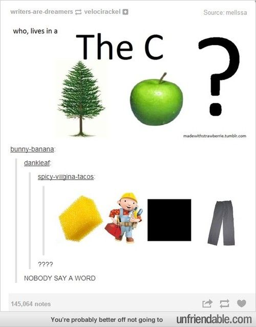 1st one- who lives in a PINE APPLE under THE C?  2nd one- SPONGE BOB SQUARE PANTS