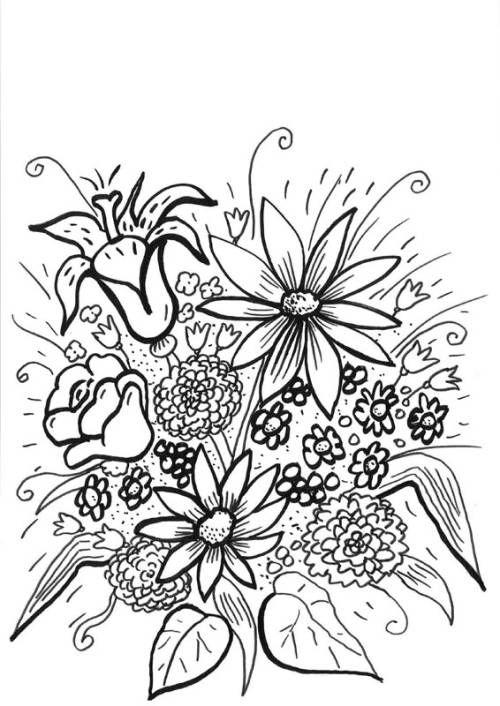Blumen Riesiger Blumenstrauß Zum Ausmalen Flower Coloring