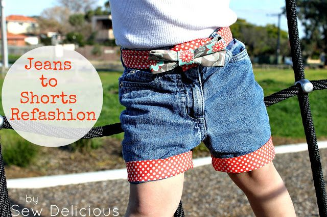 Cooper's old jeans to Lily's new shorts :)  Sew Delicious: Jeans to Shorts Refashion - Tutorial