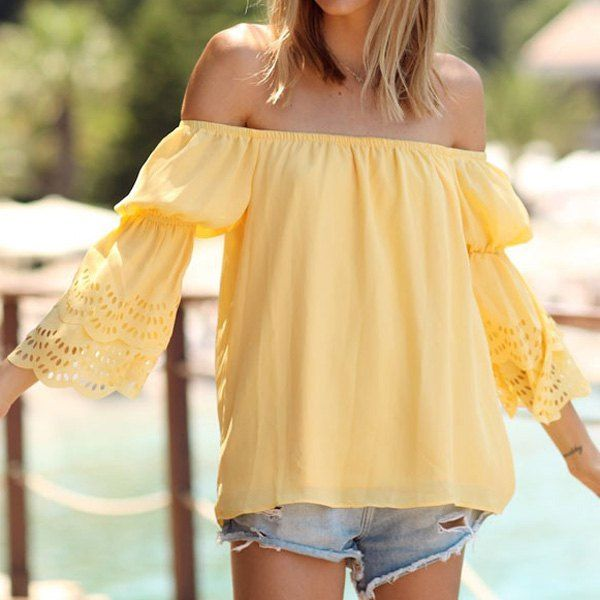 Fashionable Slash Neck Solid Color Hollow Out Flare Sleeve Blouse For Women