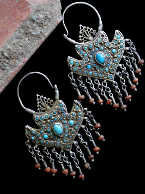 Uzbekistan | Antique Bukhara earrings; silver, gilt silver, turquoise and coral | ca. early 1900s | 1,125$