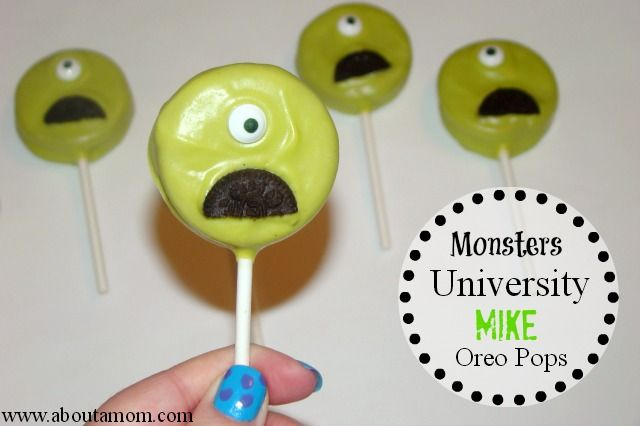 Monsters Inc Mike Oreo Pops are so easy to make and a perfect sweet treat for Monsters University release in June!