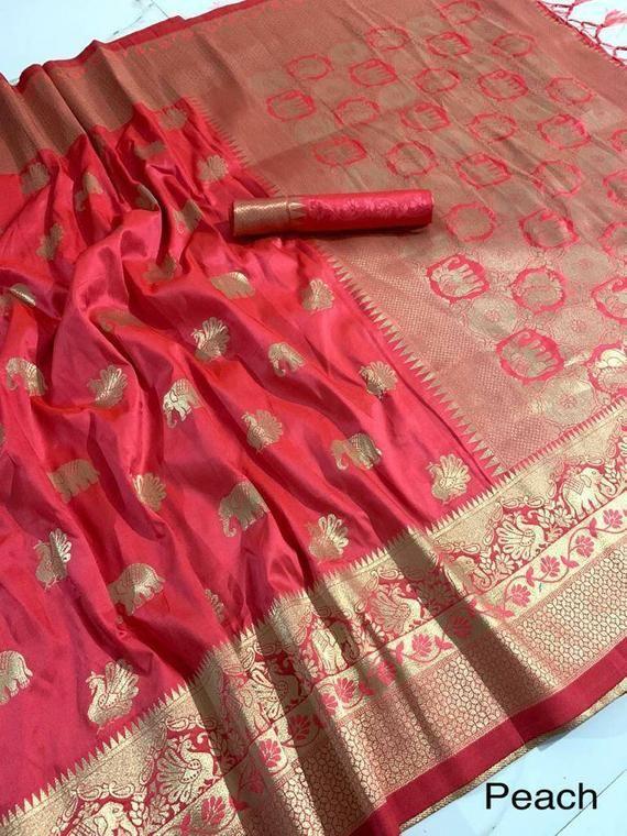 pure silk Orginal mina jari with heavy weaving work saree and blouse for women,indian saree,saree dress,wedding saree,sari,peach color saree