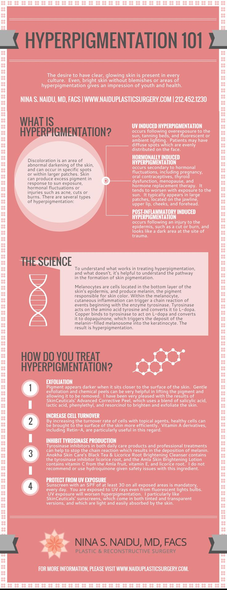 Do you want clear, glowing skin but are suffering from hyperpigmentation? Dr. Nina S. Naidu, a top board certified plastic surgeon in New York, has designed this educational infographic on hyperpigmentation to help patients understand what it is and how they can treat it. Read more here: http://www.naiduplasticsurgery.com/