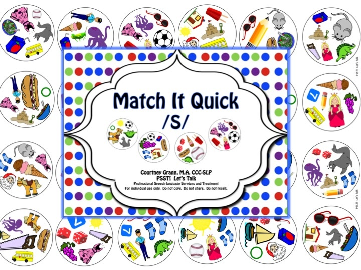 Match It Quick - /S/ Articulation Game.  A fun new way to practice /s/ in speech therapy!!  $