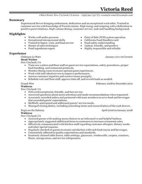 Restaurant 4-Resume Examples Server resume, Sample resume format