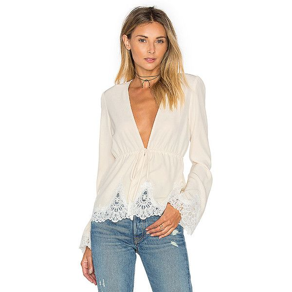 STONE_COLD_FOX Pearl Blouse (335 AUD) ❤ liked on Polyvore featuring tops, blouses, fashion tops, lace trim top, pink top, stone_cold_fox and pink blouse