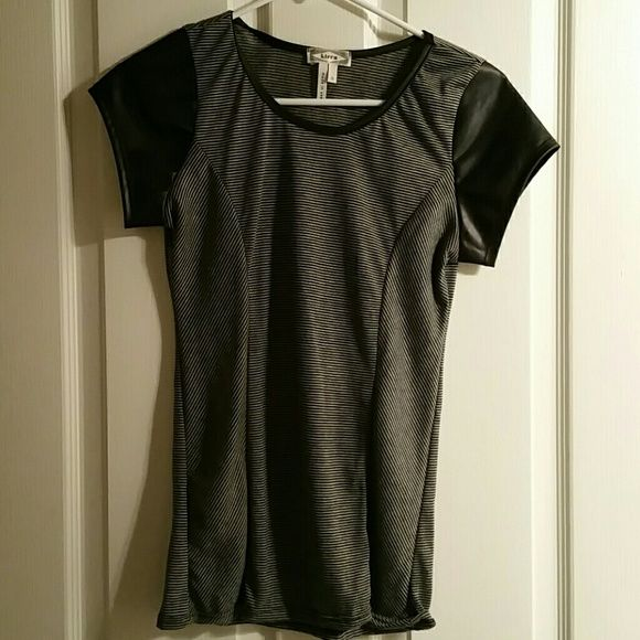 NWOT Black and white top. Black and white top with faux leather short sleeves!  VERY CUTE!!!  Never worn. Tops Tees - Short Sleeve