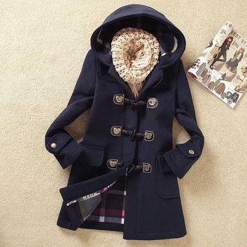 Blue wool coat jacket parkas woolen loose blouse plus size dust coat claw clasp long coat trench coat windcheater out coat thick coat C017