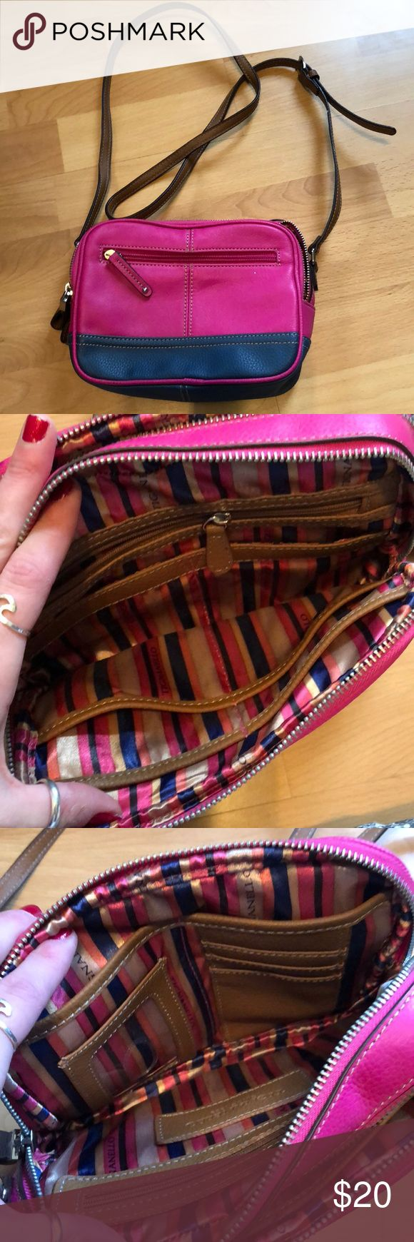Pink and navy purse with brown strap Hot pink and navy blue purse with brown strap. Two side pockets and two inside sections with lots of compartments and organizers. Tignanello brand. 100% genuine leather. Tignanello Bags Crossbody Bags