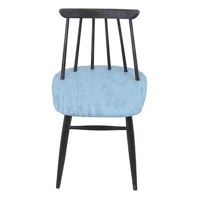 Chandra Mid Century Retro Reclaimed Pine Dining Chair - Blue