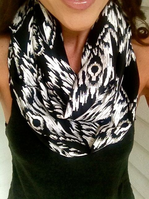 Black and White Aztec Fall Infinity Scarf by dAnn, #scarf, #fall, #aztec