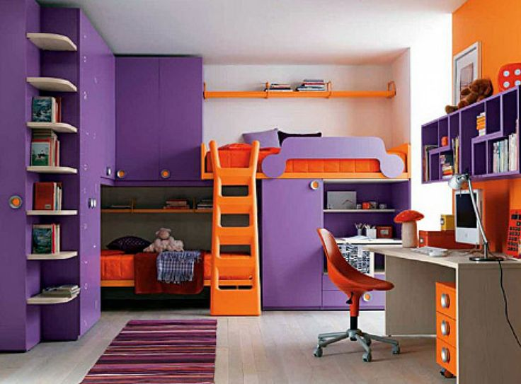 Purple Orange Bedroom Color Schemes With Storage