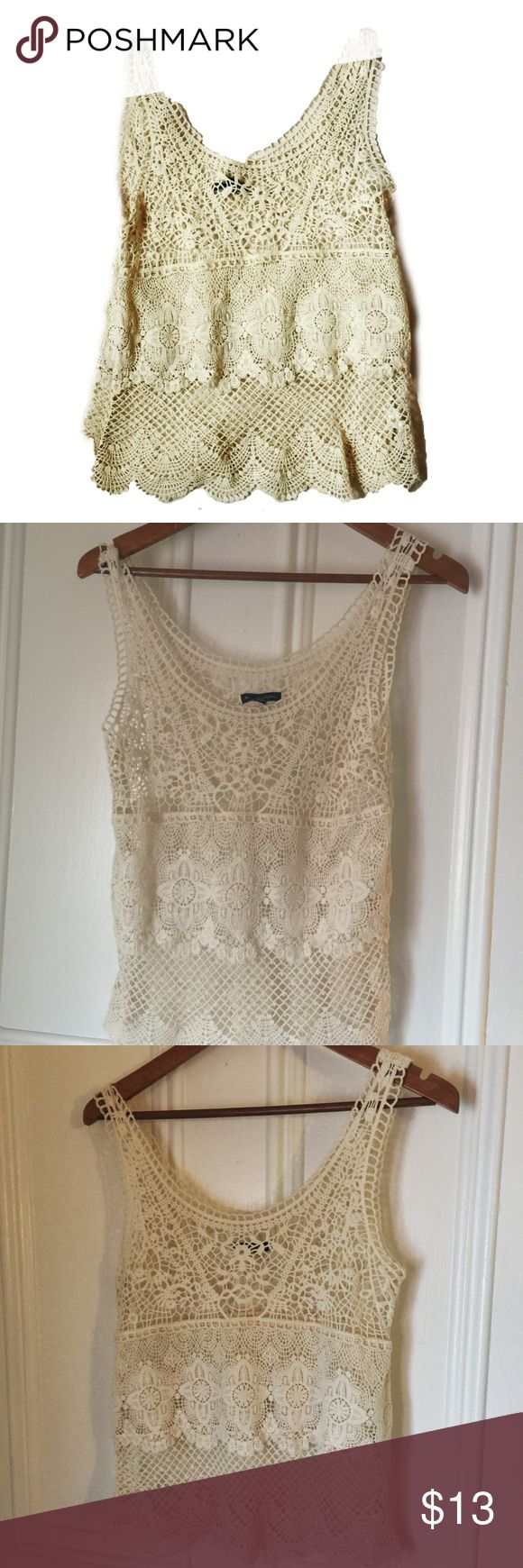 American Eagle cream lace top Delicate and pretty, this is an American Eagle cream lace size top in great condition. Size small/petite, measurements on request. American Eagle Outfitters Tops