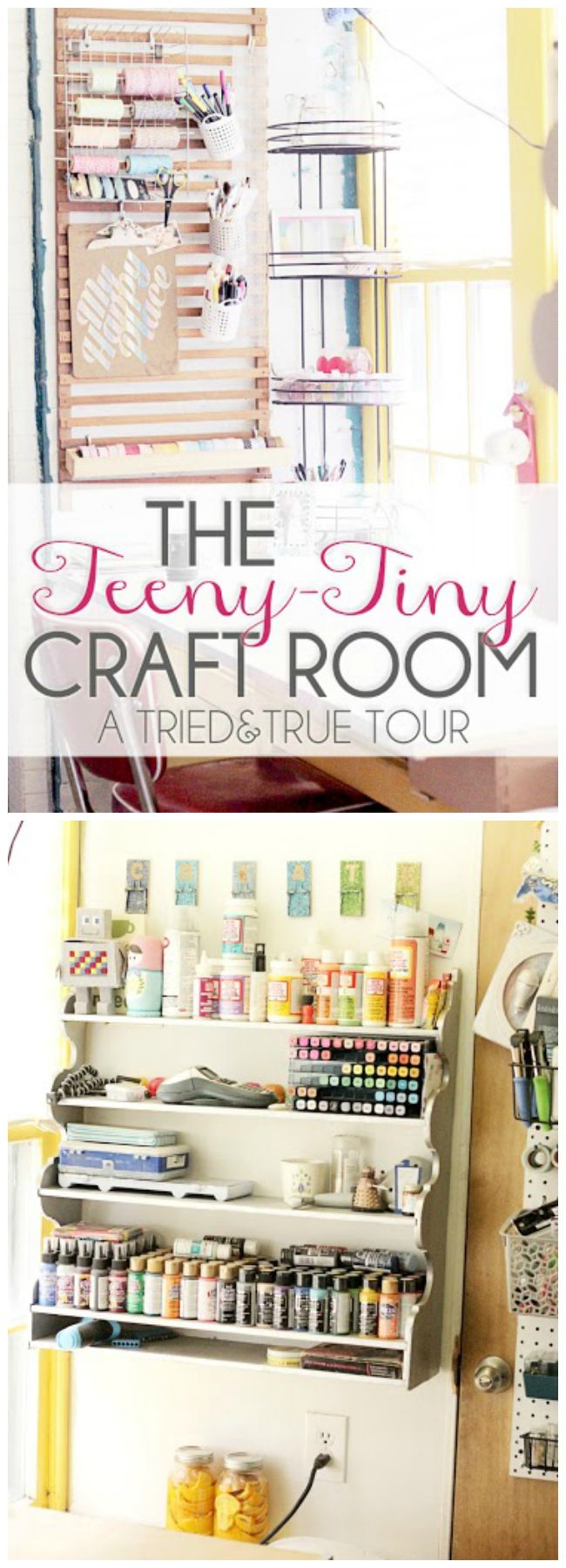 Amazing small craft room with lots of storage ideas. Love how she organizes her bakers twine!
