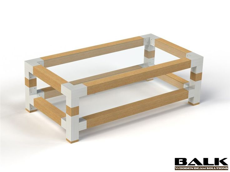 DIY design table made with BALK connectors / couplings / joints / fittings / corner pieces for wooden beams.