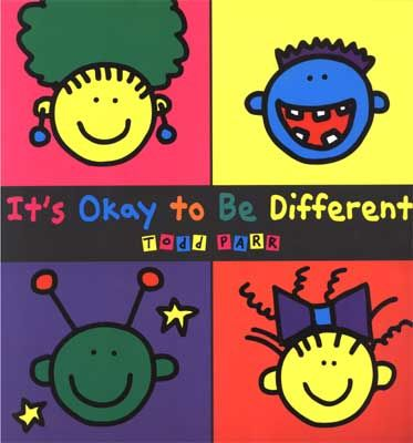 It's Okay To Be Different by Todd Parr is a straightforward, simple book about why it's ok to be different. Parr is renowned for his bright, silly illustrations that help kids find his deeper messages fun and more importantly, makes them memorable.