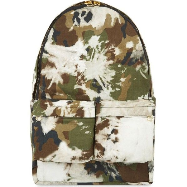 OFF-WHITE C/O VIRGIL ABLOH Camo backpack ($570) ❤ liked on Polyvore featuring bags, backpacks, multi, camouflage backpack, day pack backpack, cotton backpack, camo bag and off white bag