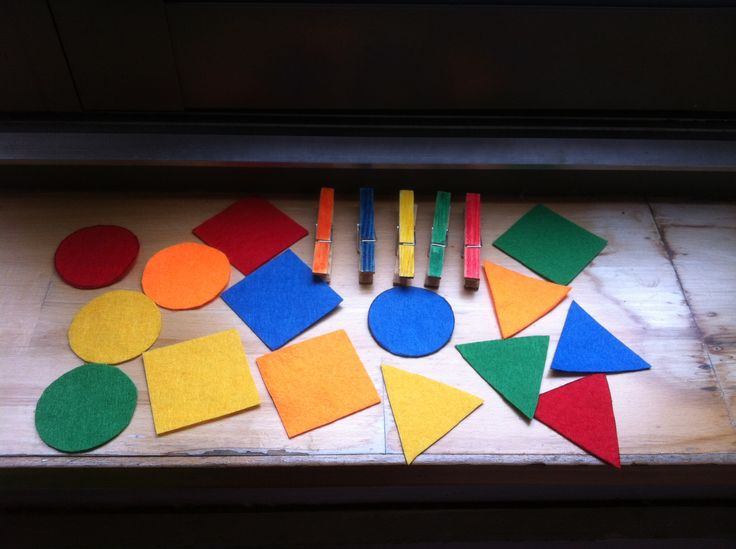 Felt shapes and coloured pegs. Help identify colours and shapes. Enables sorting and co-ordination. (Charlee's bday present)