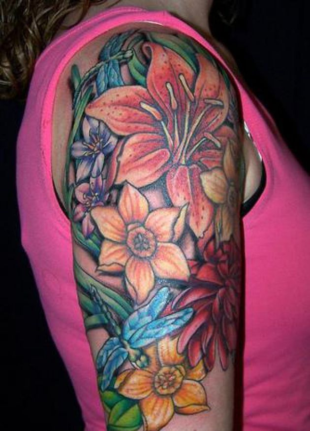 Hawaiian flower tattoos on shoulder japanese flower for Flower tattoo arm