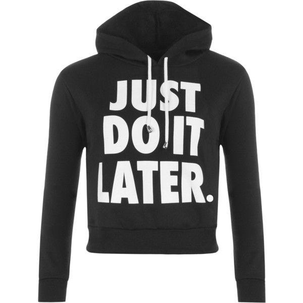 Danette Slogan Cropped Hoodie ($23) ❤ liked on Polyvore featuring tops, hoodies, black, sweatshirt hoodies, long sleeve tops, patterned hoodies, cropped hoodies and long sleeve hoodie