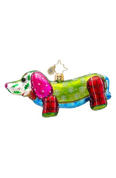 Christopher+Radko+'Patchwork+Winnie'+Handcrafted+Glass+Dachshund+Ornament+available+at+#Nordstrom
