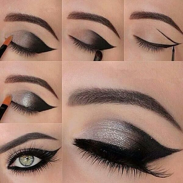 Love the winged liner, plus black and silver is my favorite color combination!