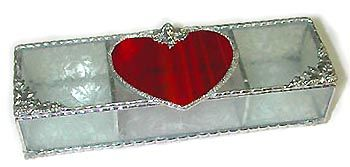 """Red Heart Stained Glass Jewel Box - Valentine's Day Gift - 3 1/2"""" x 9"""" - $39.95  - Handcrafted Stained Glass Heart Design  * More at www.AccentOnGlass.com"""