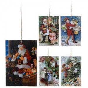 Πινακίδα κρεμαστό στολίδι 15cm σε πέντε vintage χριστουγεννιάτικα σχέδια