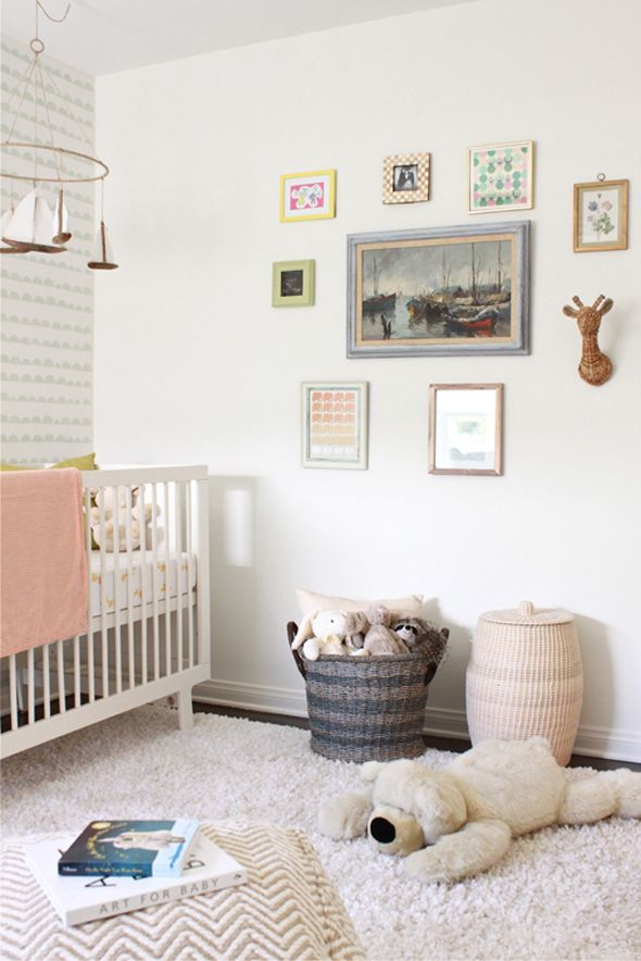 A Sweet Muted Pink Nursery With Gallery Wall For Baby!