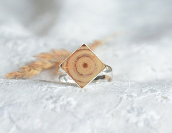 Square wooden gem ring natural wood and silver by MyPieceOfWood