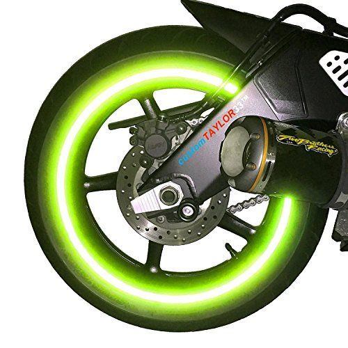 """NEW customTAYLOR33 Special Edition Lime Green High Intensity Grade Reflective Copyrighted Safety Rim Tapes, 17"""" (Rim Size for Most SportsBikes) #carscampus"""