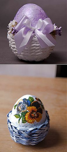 Плетение из газет. Маленькие корзинки-подставочки для пасхальных яиц.