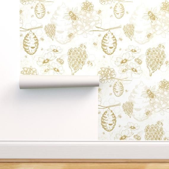 Yellow Wallpaper Busy Bees Toile Large By Etsy Mold And Mildew Yellow Wallpaper Wallpaper