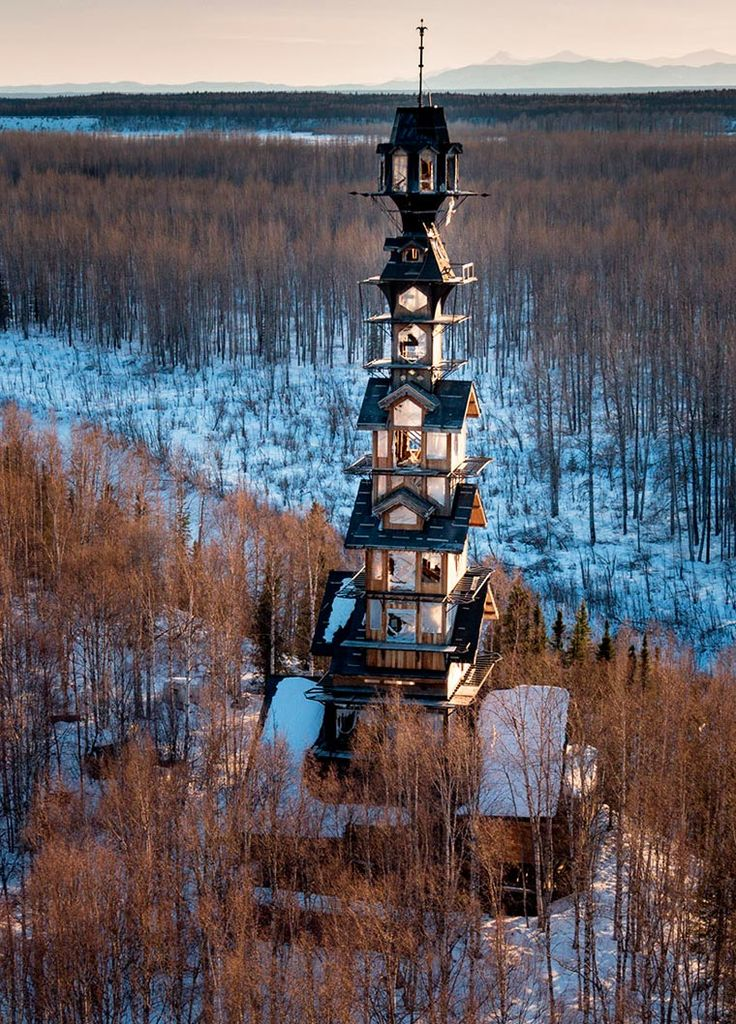 Goose-Creek-Tower-3,Phillip Weidner built his amazing cabin for several years in Alaska