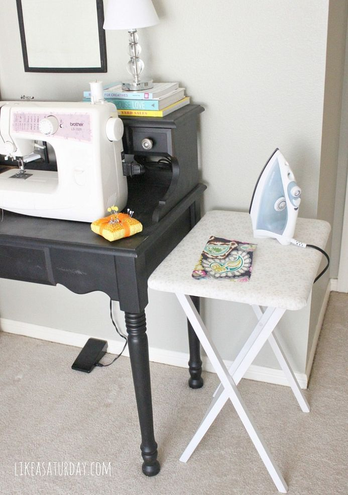 Just add batting & pretty fabric to upcycle a tray table into a craft ironing board.