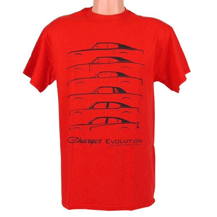 Dodge Charger Evolution t shirt with silhouette lines of Chargers through the years printed on a red 100% cotton t-shirt.