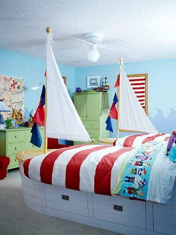 Pirate Room for Two - Nautical details abound in this all-boy room. A pair of boat-shape twin beds (complete with sails) are perfect for two young pirates! Discover more kids room decorating and organizing tips and ideas @ http://kidsroomdecorating.net