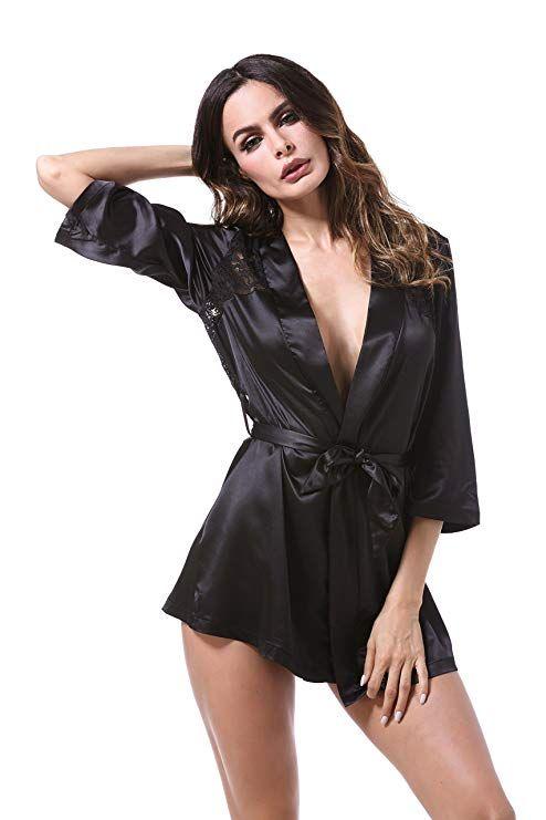 1d719e6faf BellisMira Women's Satin Robe Silk Dressing Gown Lace Pyjamas Long  Nightdress Sexy Ladies Bathrobe Sleep Slip Kimono (Robe Only): Amazon.co.uk:  Clothing