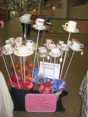 So far, I have collected about ten beautiful china cups and saucers to make these bird feeders.  I can't wait!!