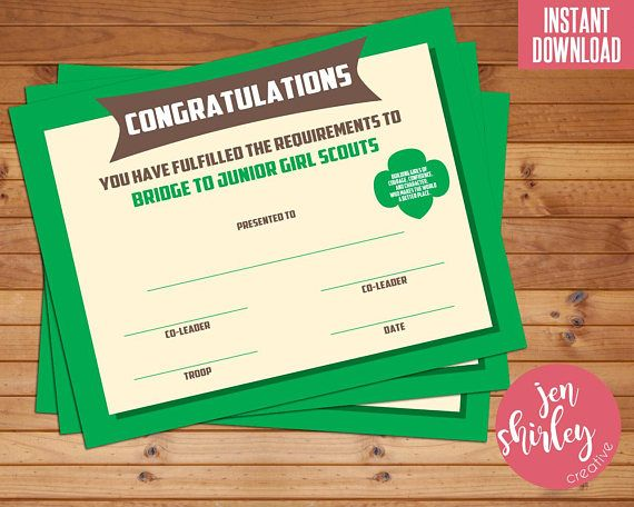 Girl Scouts Bridging Certificate, Girl Scouts Investiture Certificate, Bridge to Junior, Congratulations, Printable, Instant Download  This instant download is for a Bridge to Junior certificate for your troops bridging/investiture ceremony. All items can be opened in Adobe Reader