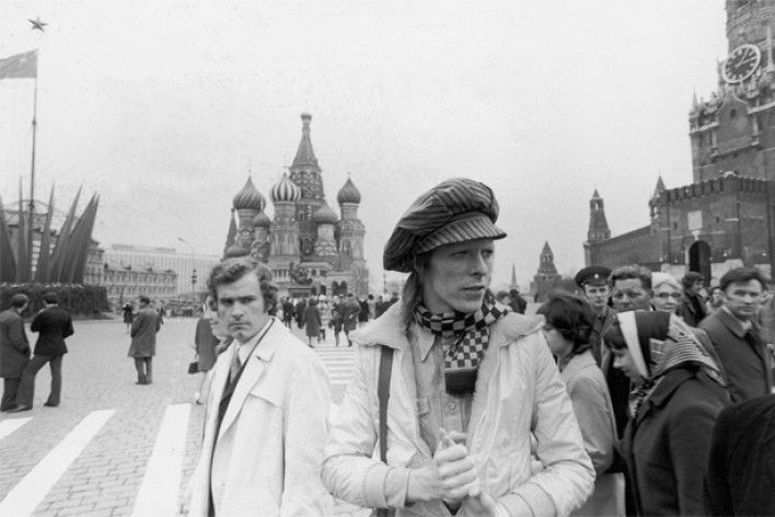 David Bowie visiting Moscow, USSR in 1973. He traveled from Japan through Russia by Trans-Siberian Express with his band members.