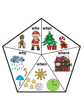 Free! Christmas WH Question Cue Card