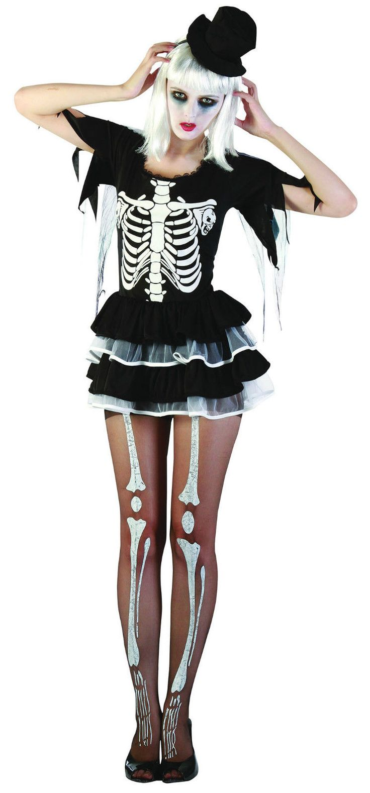 SEXY SKELETON #LADY TUTU DRESS HALLOWEEN FANCY DRESS ADULT COSTUME | eBay