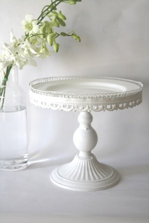 DIY Vintage Shabby Chic White Cake Stand  Candle Stick Topped With A Plate  And Circled By Lace/ribbon