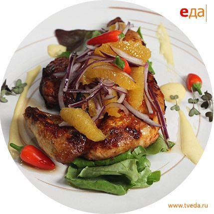 Ароматный цыпленок пири-пири с апельсиновым салатом
